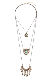 Riah Fashion Turquoise Pendent Layer Necklace - Product Mini Image