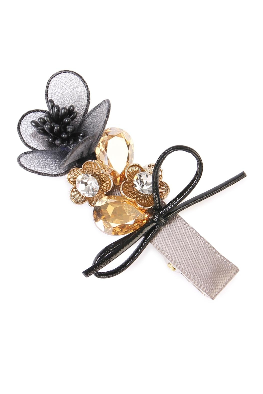 Riah Fashion Bow-&-Flower Hair Pin - Front Cropped Image