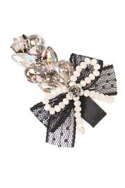 Riah Fashion Bow-&-Pearl  Hair Pins - Product Mini Image