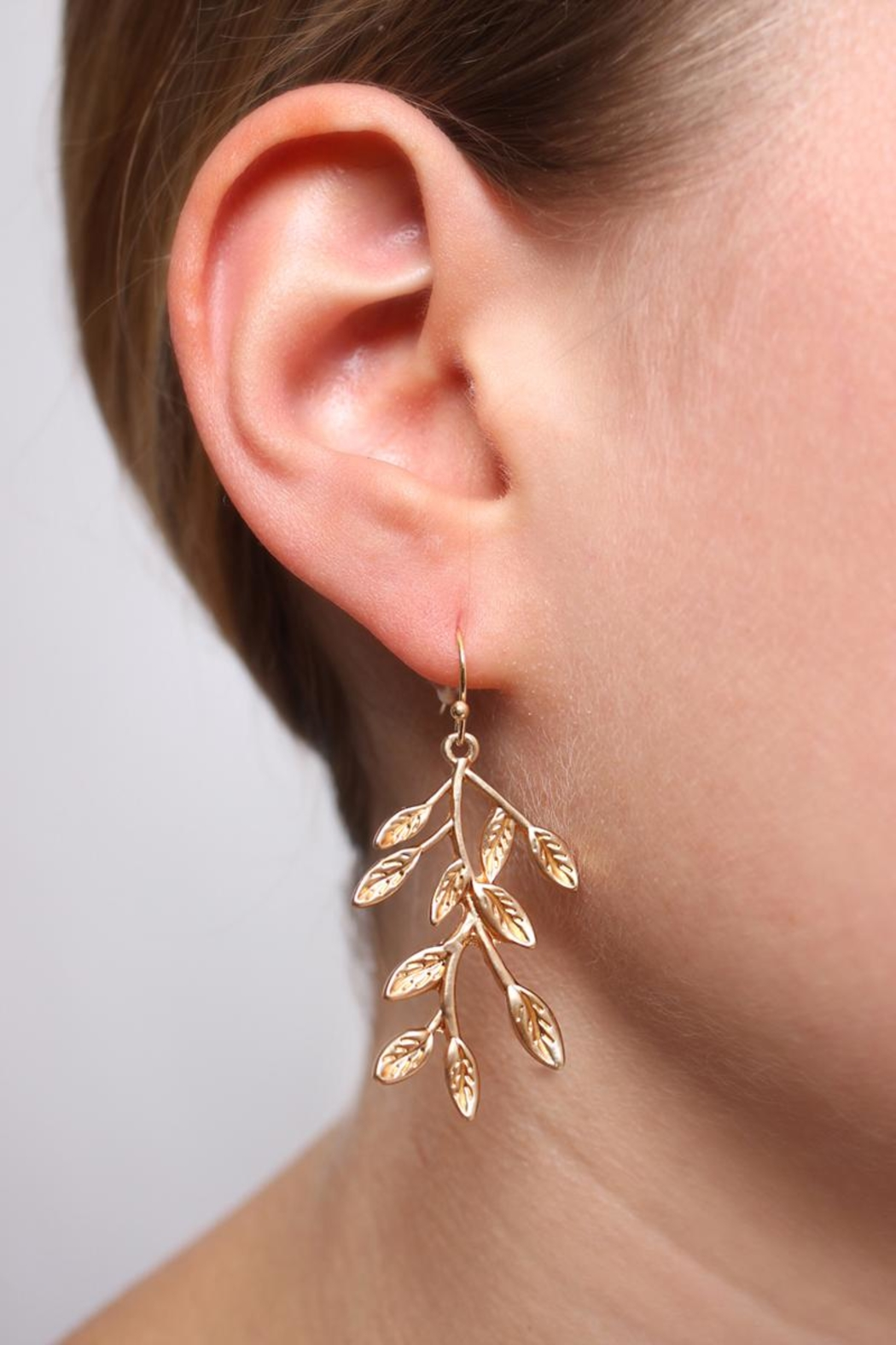 Riah Fashion Branch Leaf Drop Earrings - Front Full Image