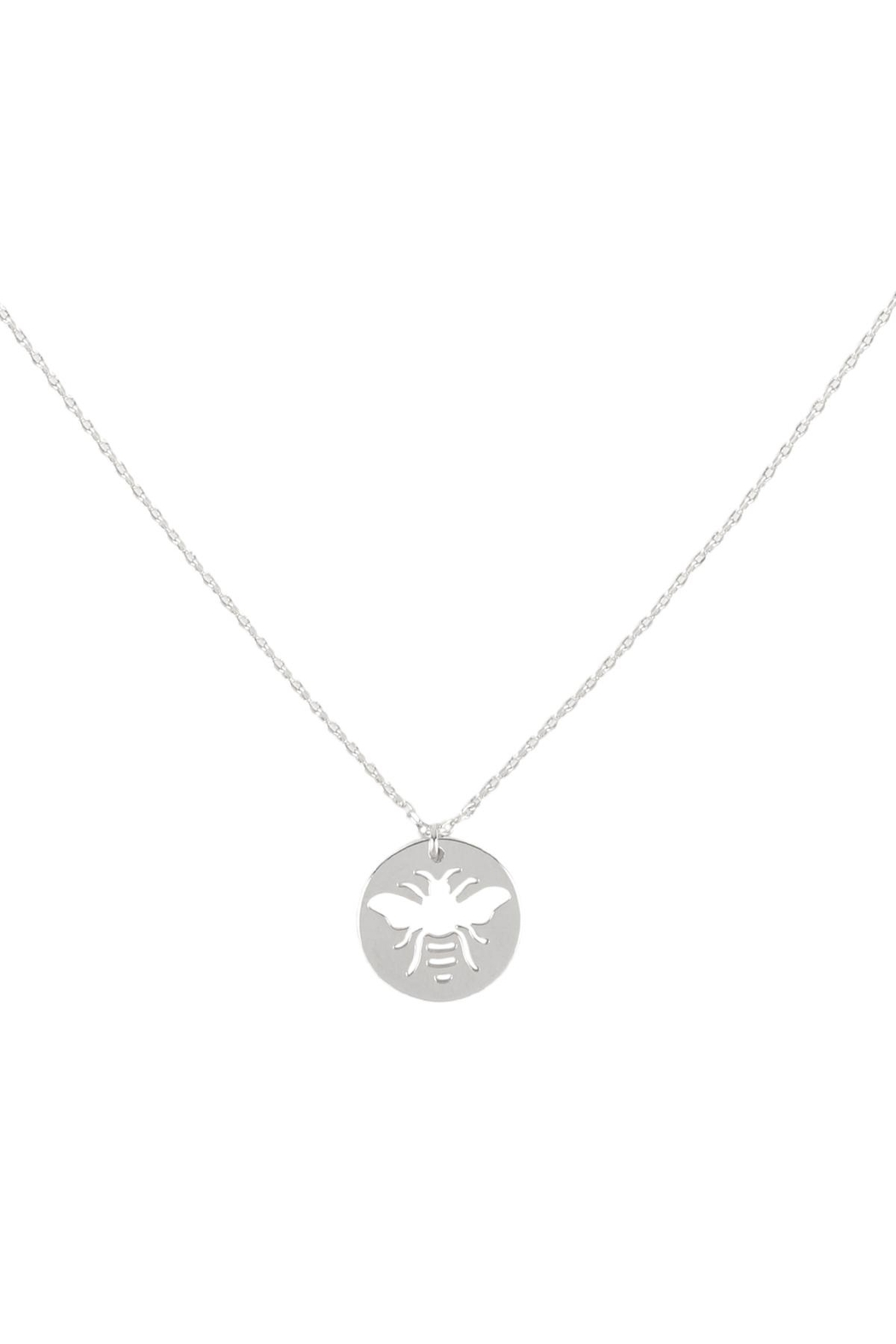 Riah Fashion Brass-Bee-Cutout-Coin-Pendant-Necklace - Front Cropped Image