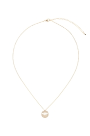 Riah Fashion Brass-Bee-Cutout-Coin-Pendant-Necklace - Front full body