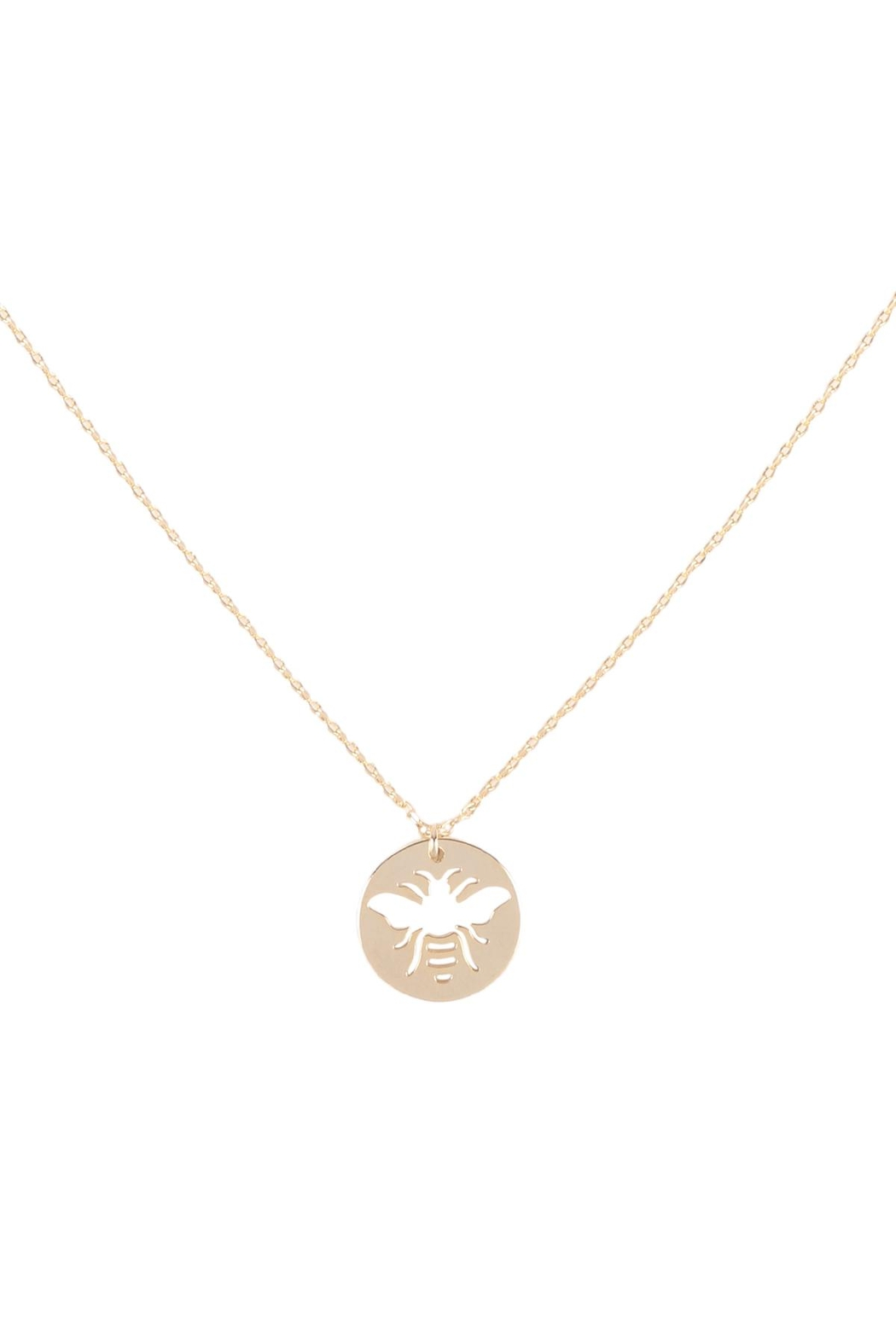 Riah Fashion Brass-Bee-Cutout-Coin-Pendant-Necklace - Main Image