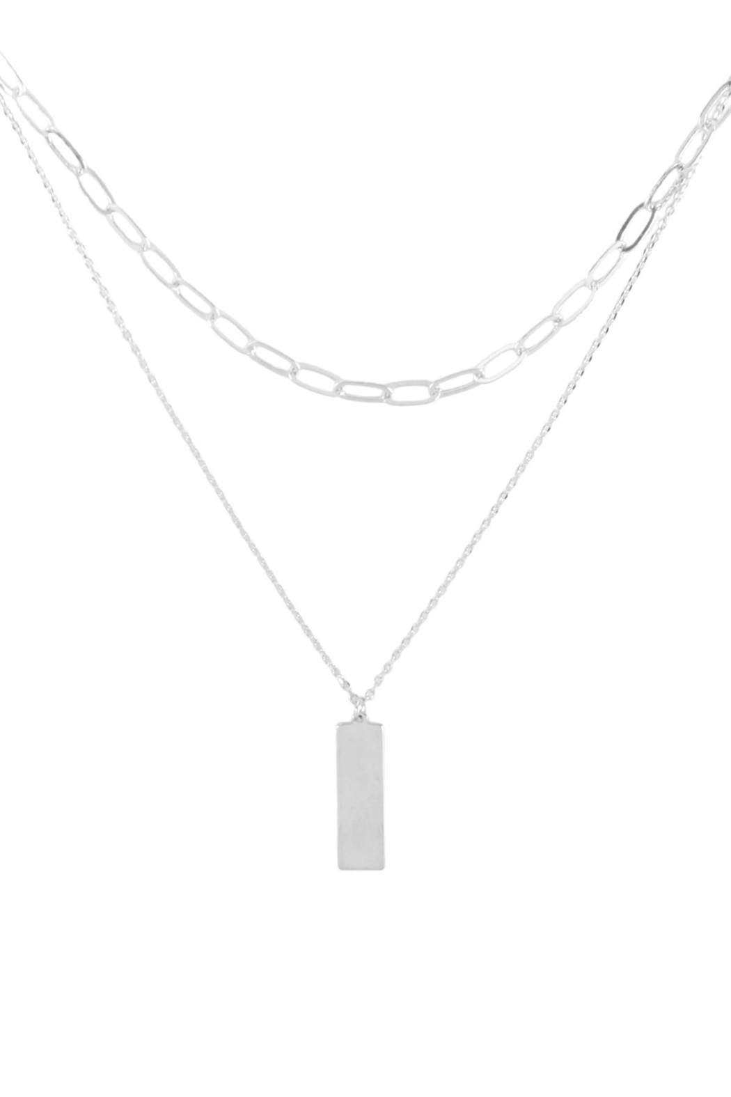 Riah Fashion Brass-Layered-Bar-Pendant-Necklace - Front Cropped Image