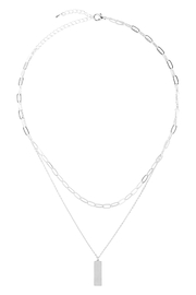 Riah Fashion Brass-Layered-Bar-Pendant-Necklace - Front full body