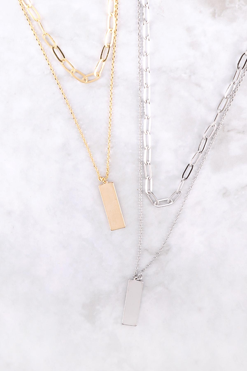 Riah Fashion Brass-Layered-Bar-Pendant-Necklace - Side Cropped Image