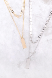 Riah Fashion Brass-Layered-Bar-Pendant-Necklace - Side cropped