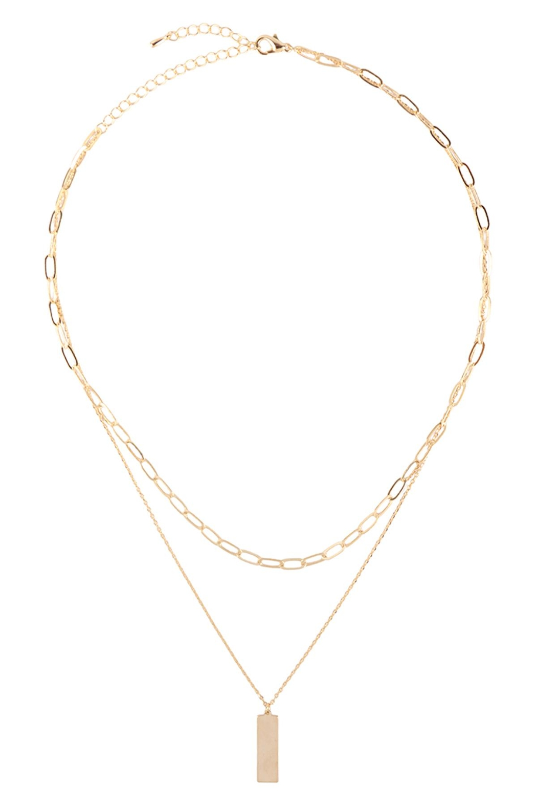 Riah Fashion Brass-Layered-Bar-Pendant-Necklace - Front Full Image