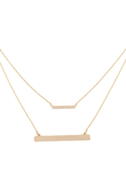 Riah Fashion Brass-Layered-Pave-Cubic-Zircoinia-Bar-Pendant-Necklace - Product Mini Image