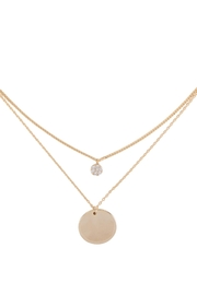 Riah Fashion Brass-Layered-Pave-Cubic-Zirconia-Round-Disk-Pendant-Necklace - Product Mini Image