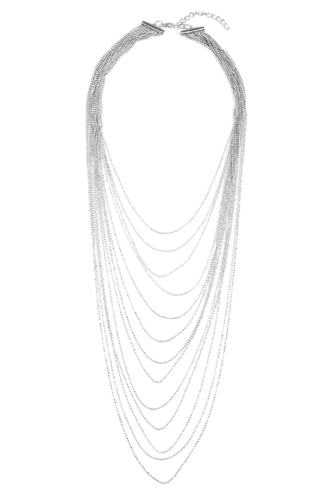 Riah Fashion Brass Metal Layered Necklace - Front Cropped Image