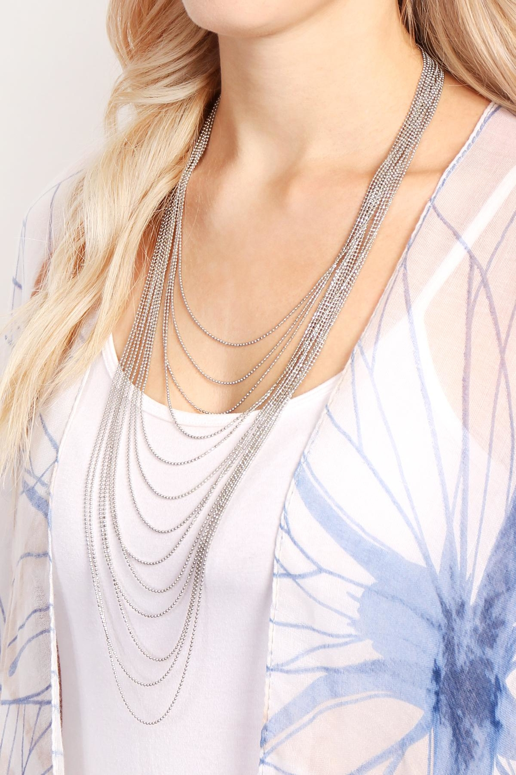 Riah Fashion Brass Metal Layered Necklace - Front Full Image