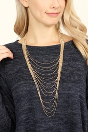 Riah Fashion Brass Metal Layered Necklace - Front full body