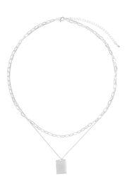 Riah Fashion Brass-Plate-Pentdant-2-Layered-Necklace - Product Mini Image