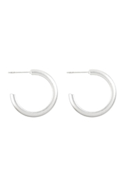 Riah Fashion Brass Post Hoop-Earrings - Front cropped