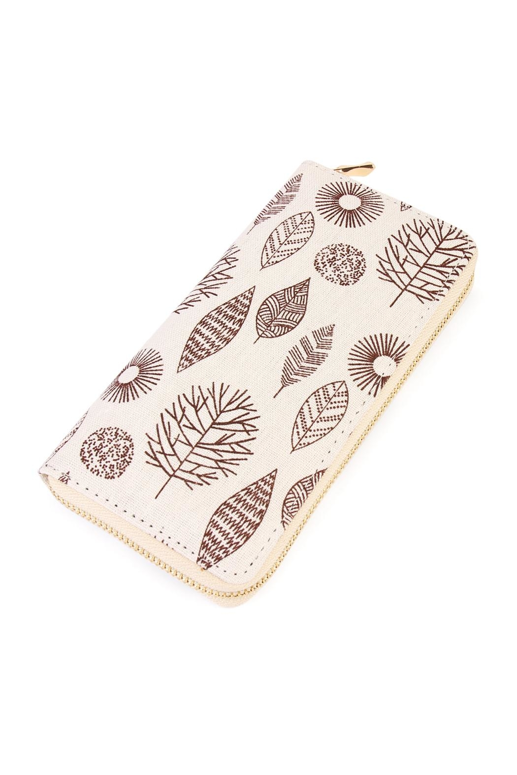 Riah Fashion Brown Leaf Aztec Wallet - Main Image