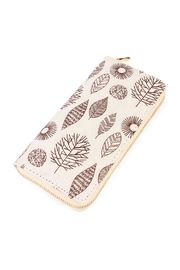 Riah Fashion Brown Leaf Aztec Wallet - Front cropped