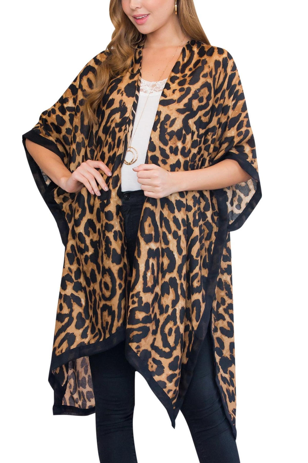 Riah Fashion Brown Leopard Open Front - Main Image