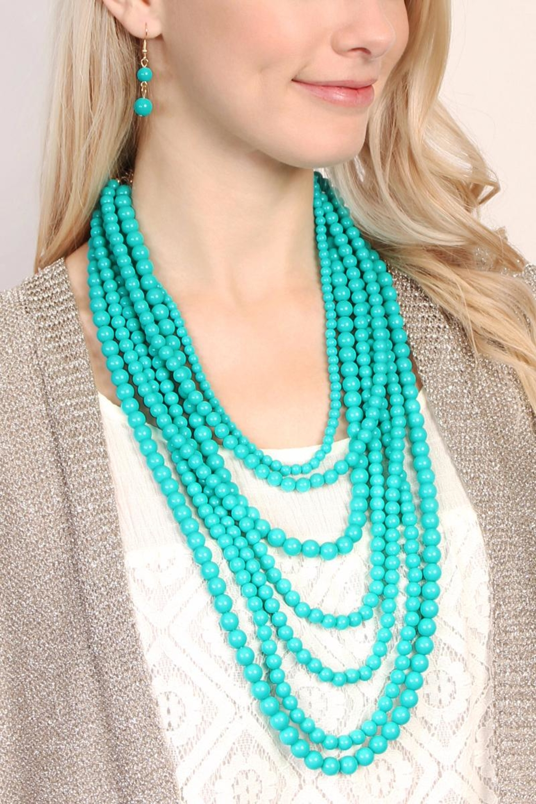 Riah Fashion Bubble-Strand Necklace Set - Front Full Image
