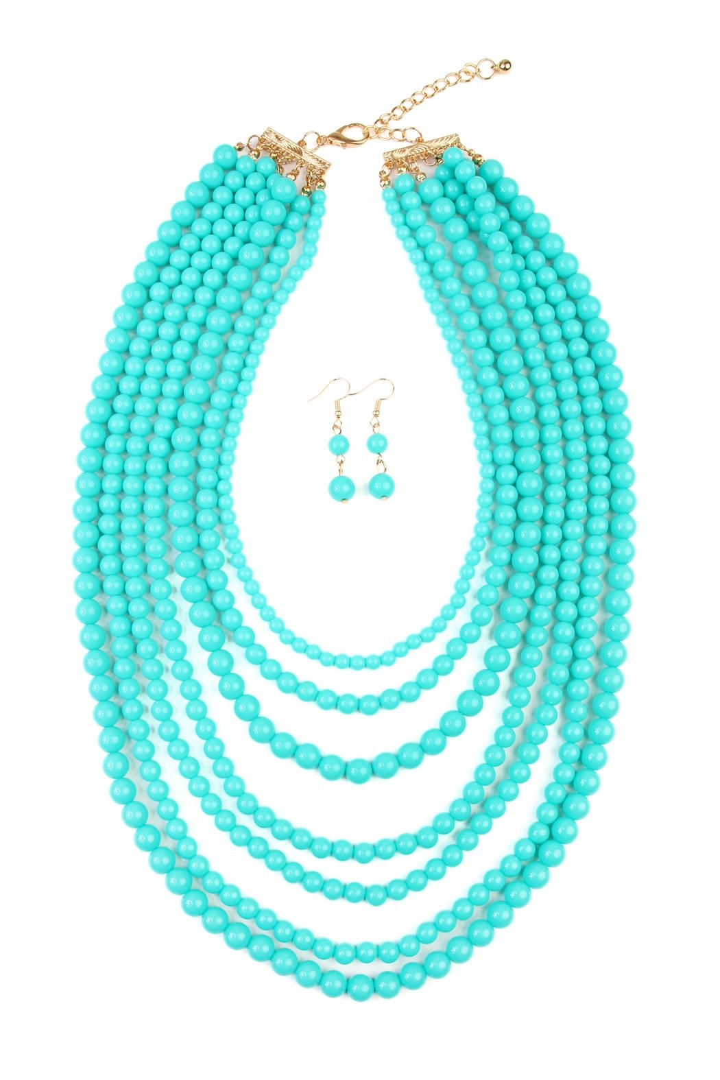 Riah Fashion Bubble-Strand Necklace Set - Front Cropped Image