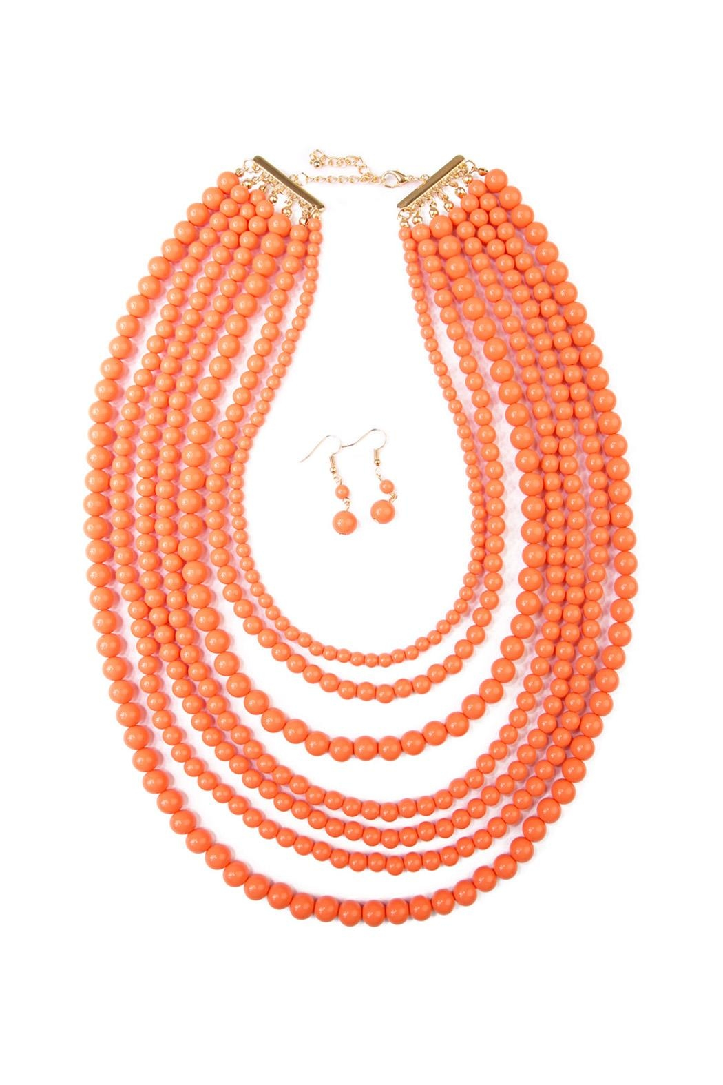 Riah Fashion Bubble Strand Necklace Set - Front Cropped Image