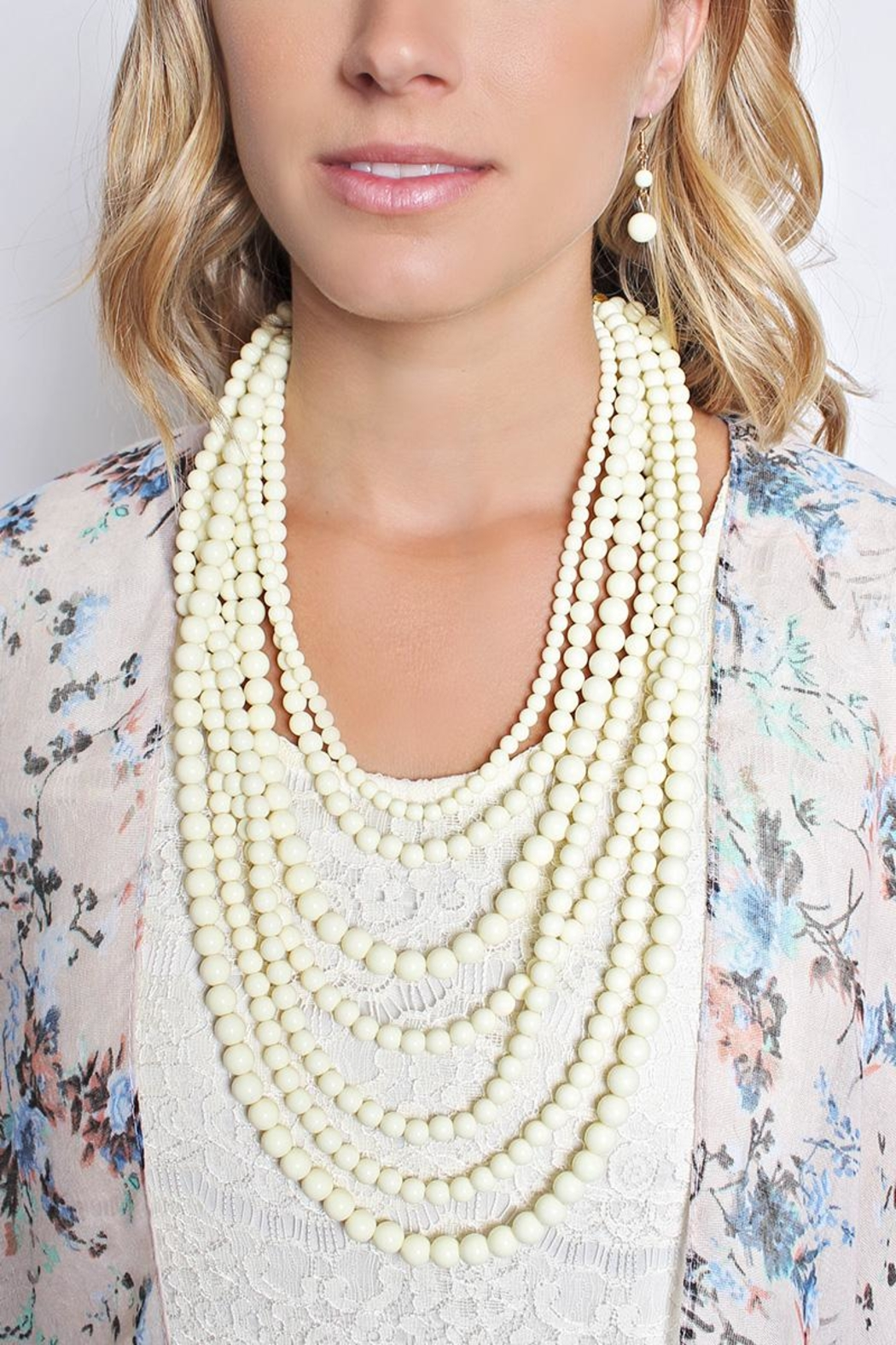 Riah Fashion Bubble Strand Necklace Set - Front Full Image