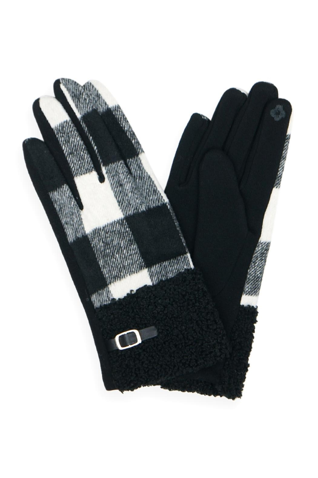 Riah Fashion Buffalo-Plaid-Smart-Touch-Sherpa-Cuff-Gloves - Front Cropped Image