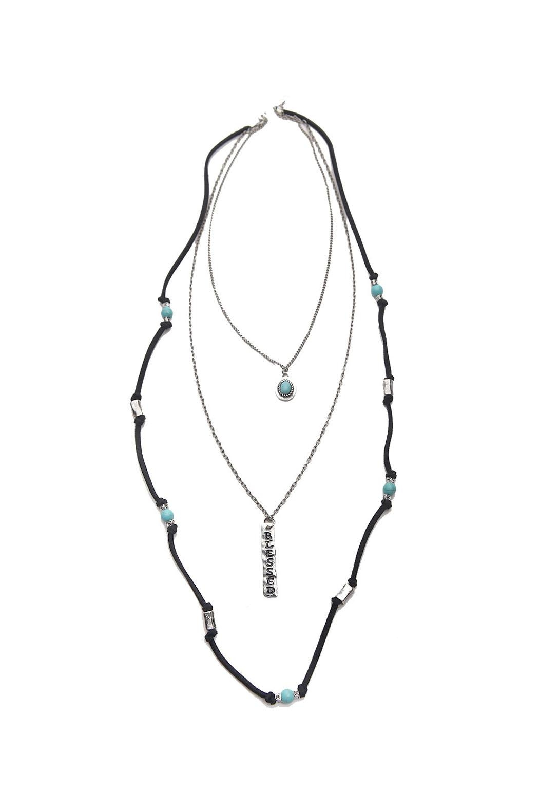 Riah Fashion Burnish Blessed Necklace - Front Cropped Image