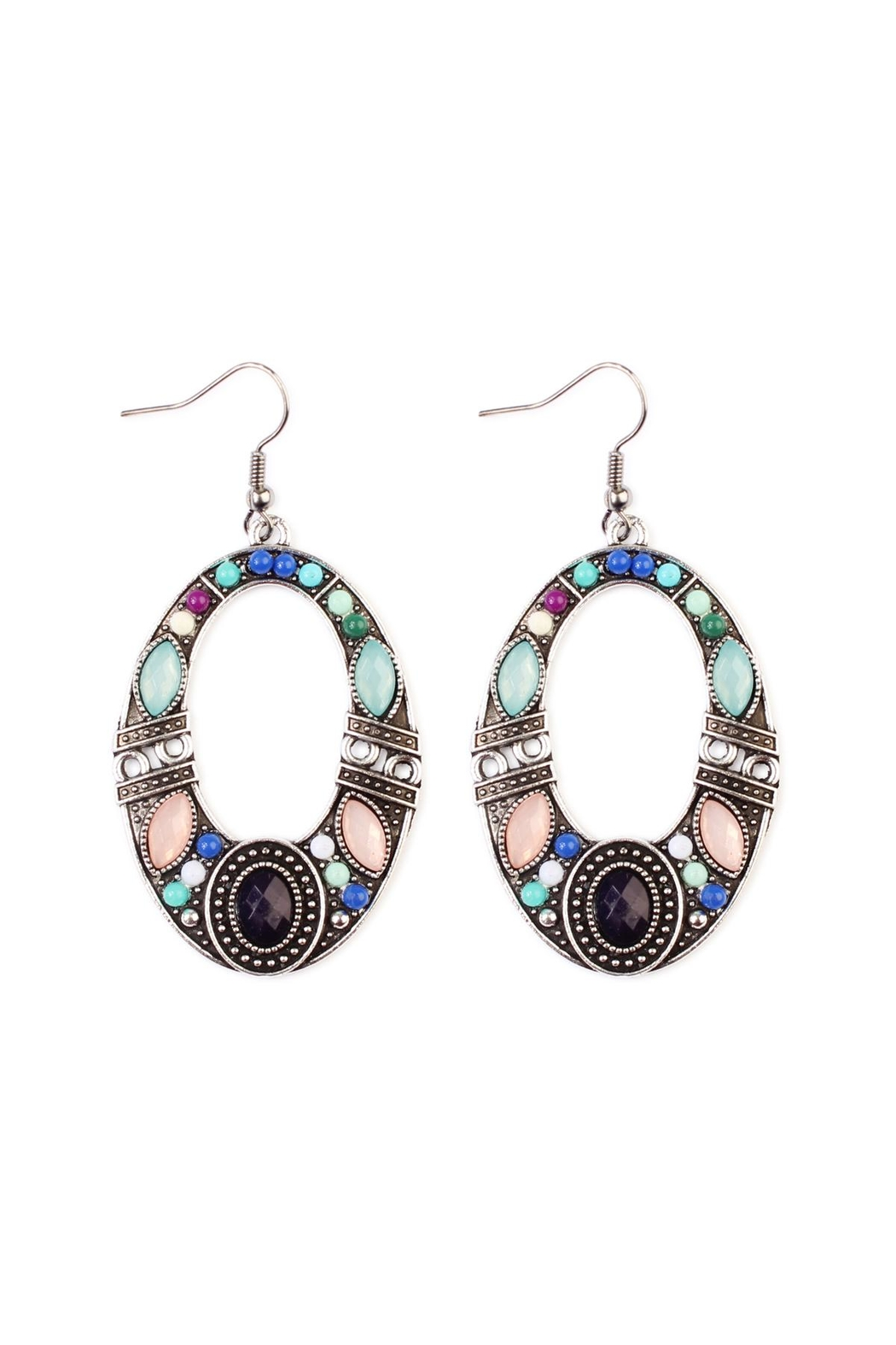 Riah Fashion Burnish Multi-Tone Earrings - Front Cropped Image