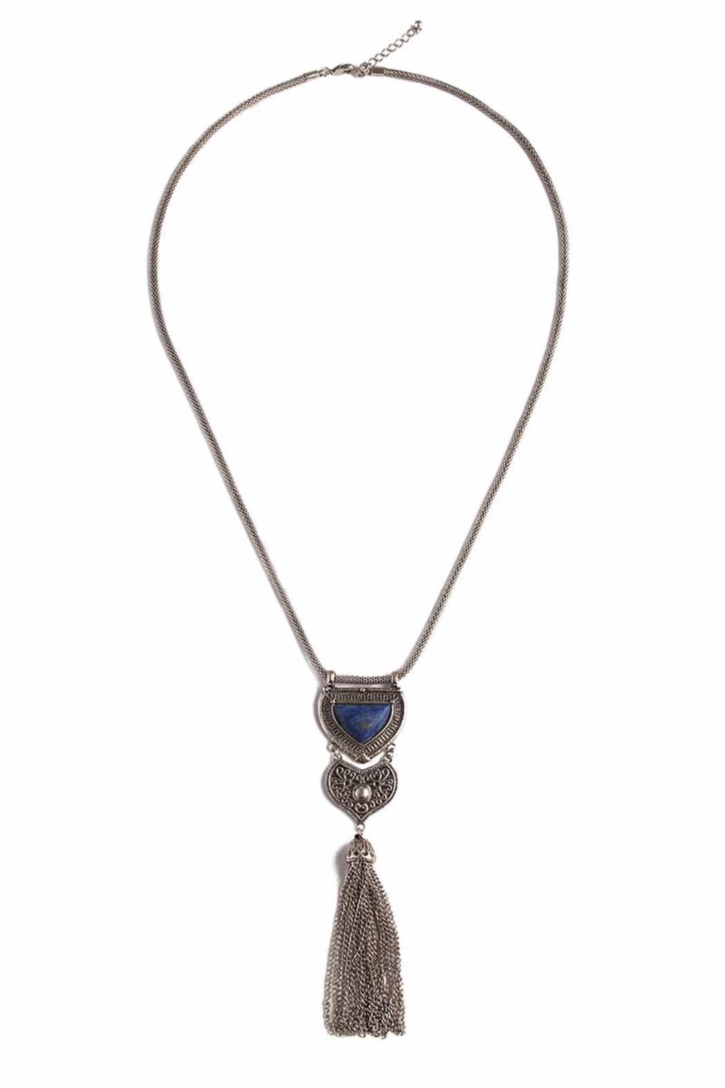 Riah Fashion Burnish Silvertone Pendant Necklace - Main Image