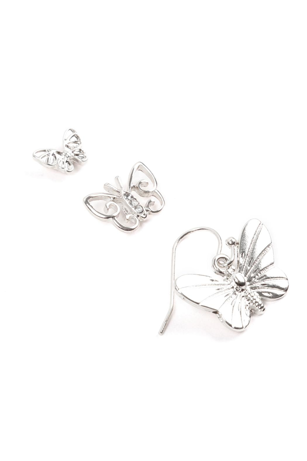 Riah Fashion Butterfly 3 Set Earrings - Front Full Image