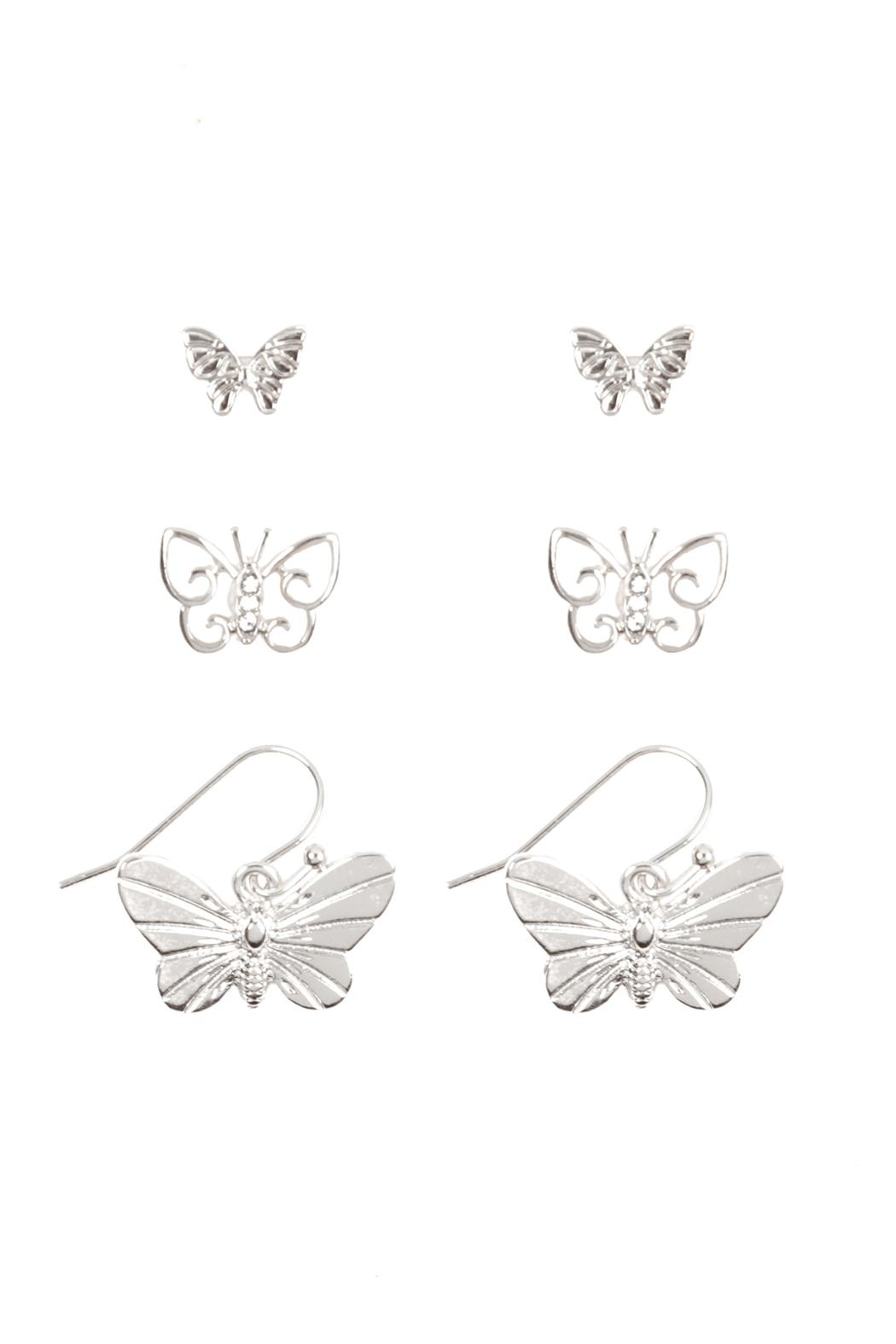 Riah Fashion Butterfly 3 Set Earrings - Front Cropped Image