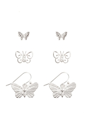 Riah Fashion Butterfly 3 Set Earrings - Front cropped