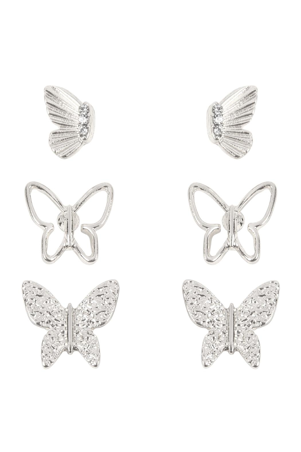 Riah Fashion Butterfly 3 Set Metal Earrings - Front Cropped Image