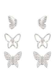 Riah Fashion Butterfly 3 Set Metal Earrings - Front cropped