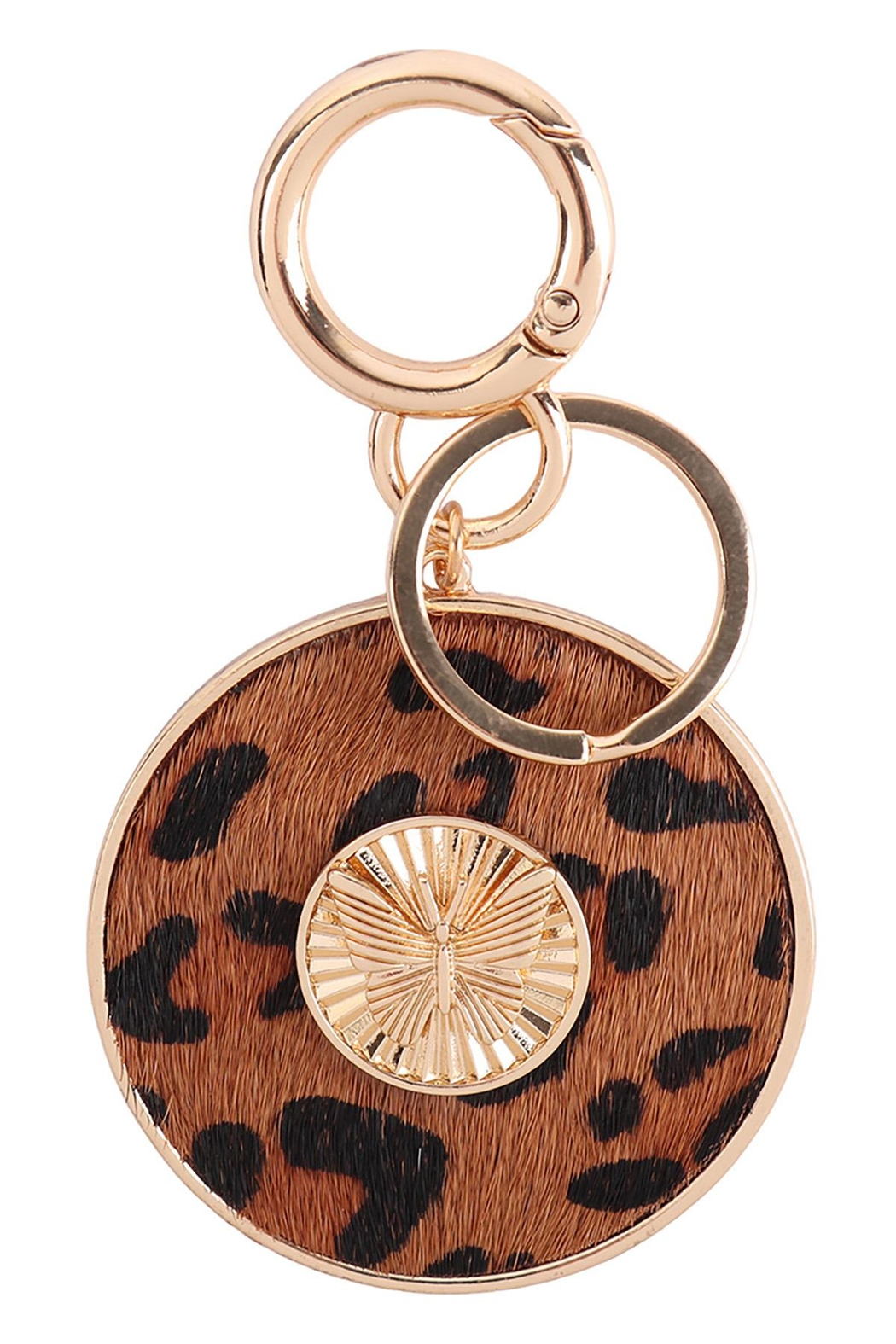 Riah Fashion Butterfly-Engraved-With-Real-Calf-Hair-Leather-Keychain - Front Cropped Image