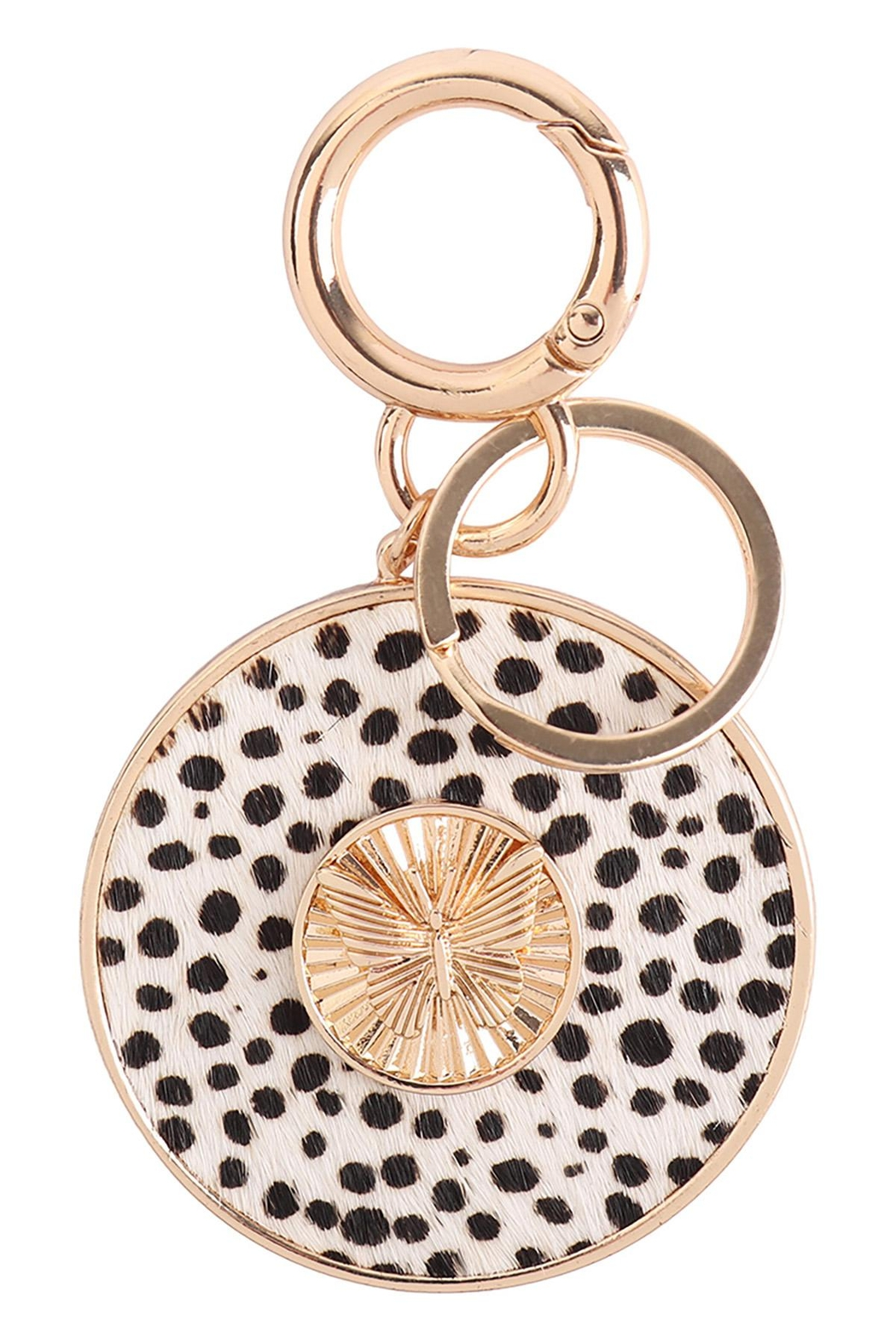 Riah Fashion Butterfly-Engraved-With-Real-Calf-Hair-Leather-Keychain - Main Image