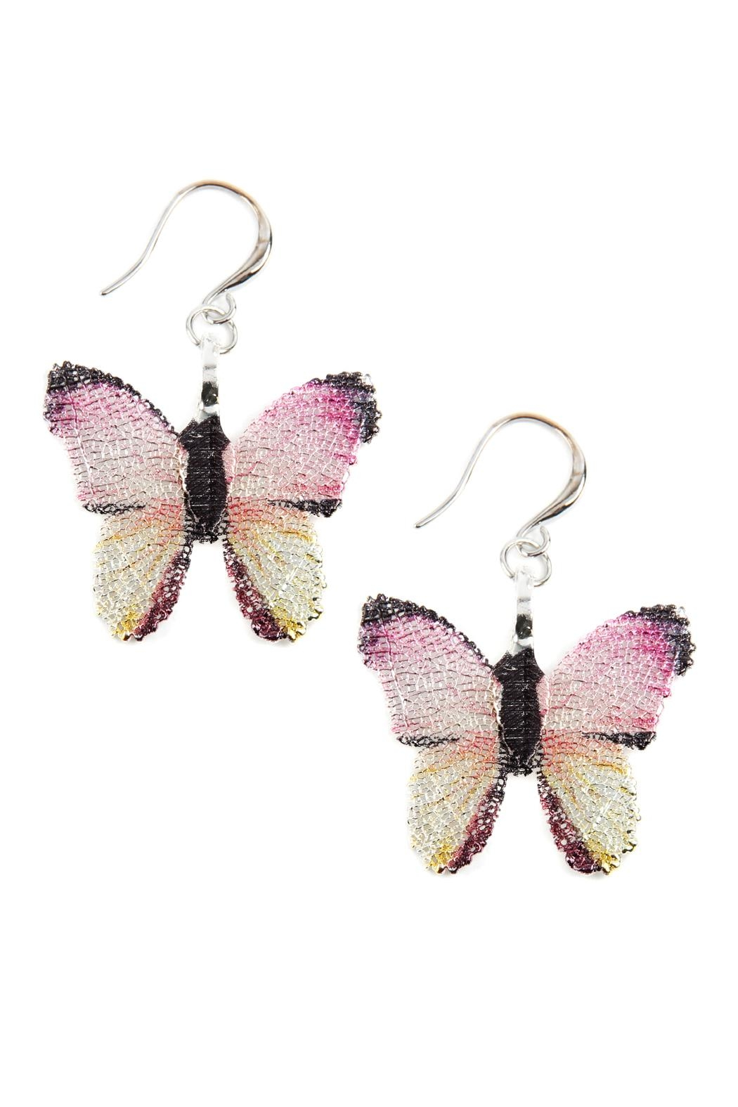 Riah Fashion Butterfly Hook-Dangle -Earrings - Front Cropped Image