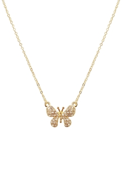 Riah Fashion Butterfly-Pave-Charm-Pendant-Necklace - Alternate List Image