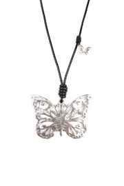 Riah Fashion Butterfly Pendant Necklace - Front full body
