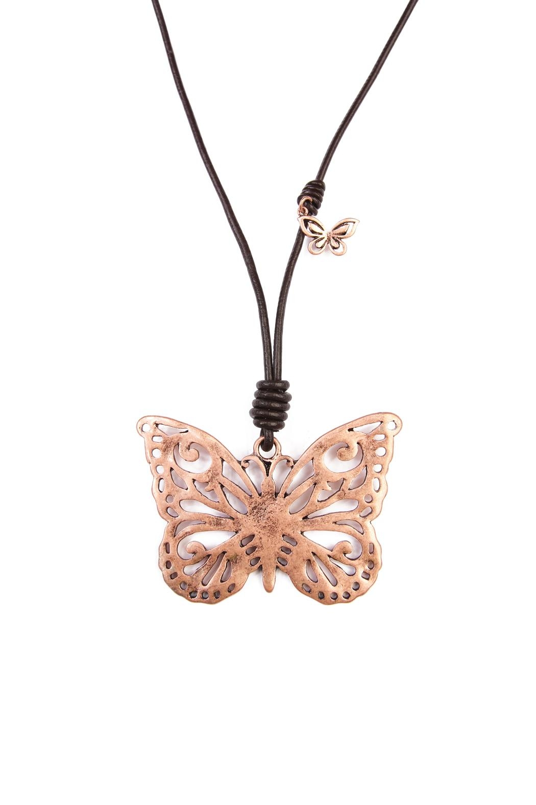 Riah Fashion Butterfly Pendant Necklace - Front Full Image