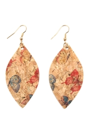 Riah Fashion Butterfly Print Cork Marquise Earrings - Product Mini Image