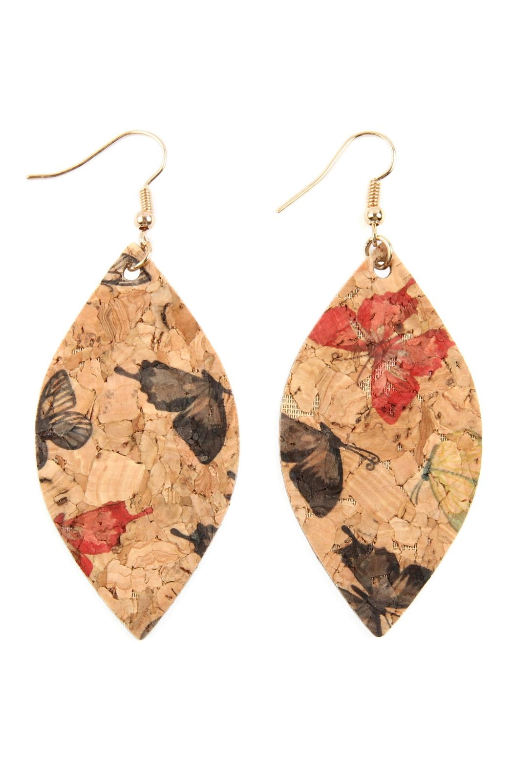 Riah Fashion Butterfly Print Cork Marquise Earrings - Front Cropped Image