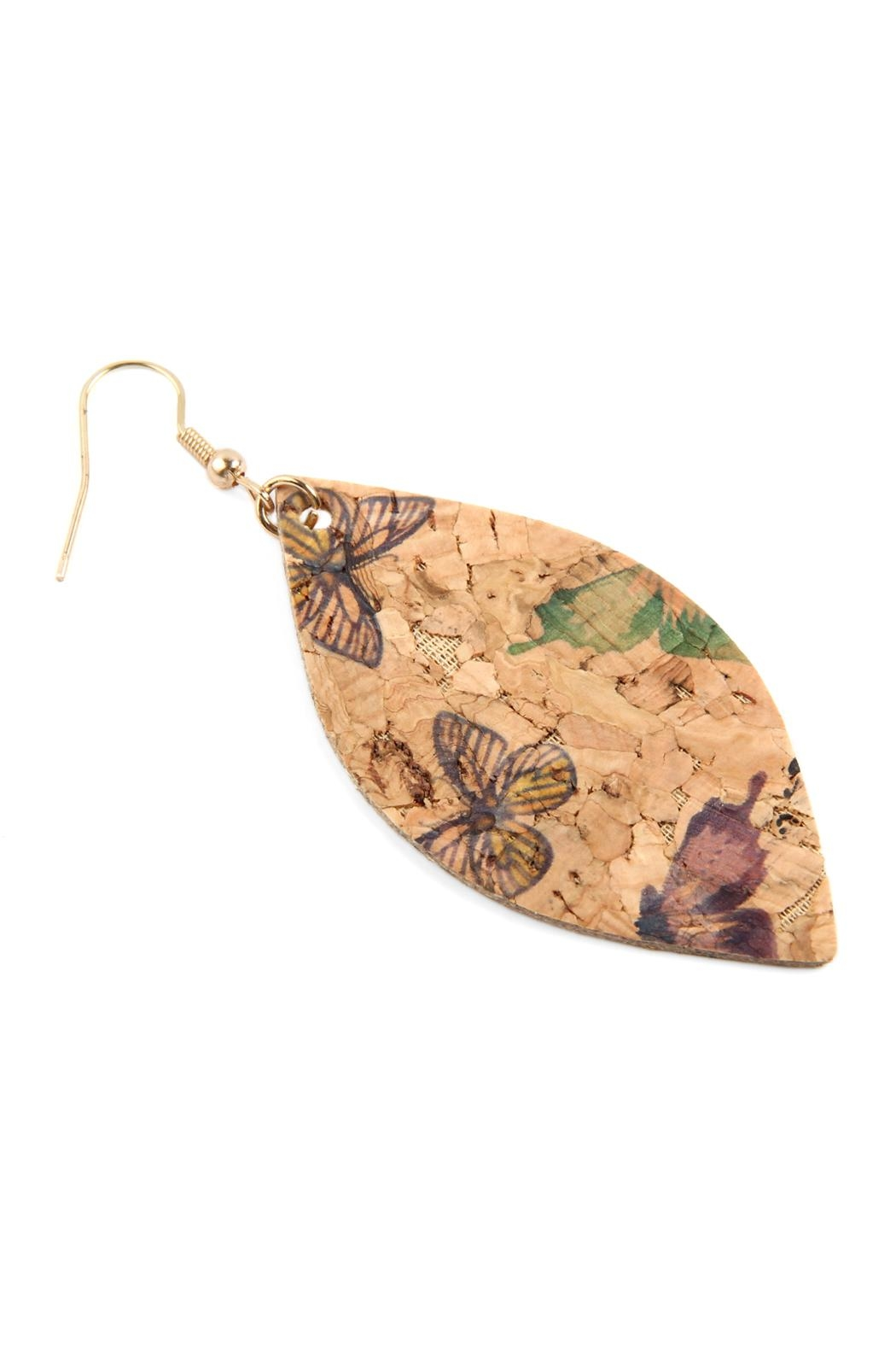 Riah Fashion Butterfly Print Cork Marquise Earrings - Front Full Image