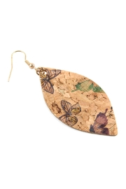 Riah Fashion Butterfly Print Cork Marquise Earrings - Front full body