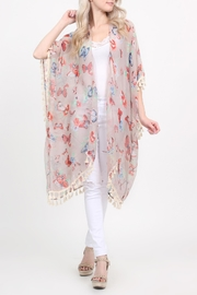 Riah Fashion Butterfly-Print Semi-Sheer Cardigan - Product Mini Image