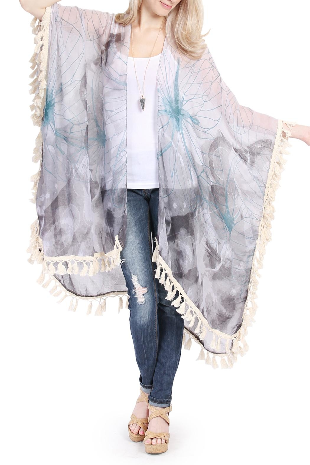 Riah Fashion Butterfly Print Tassel Cardigan - Front Cropped Image