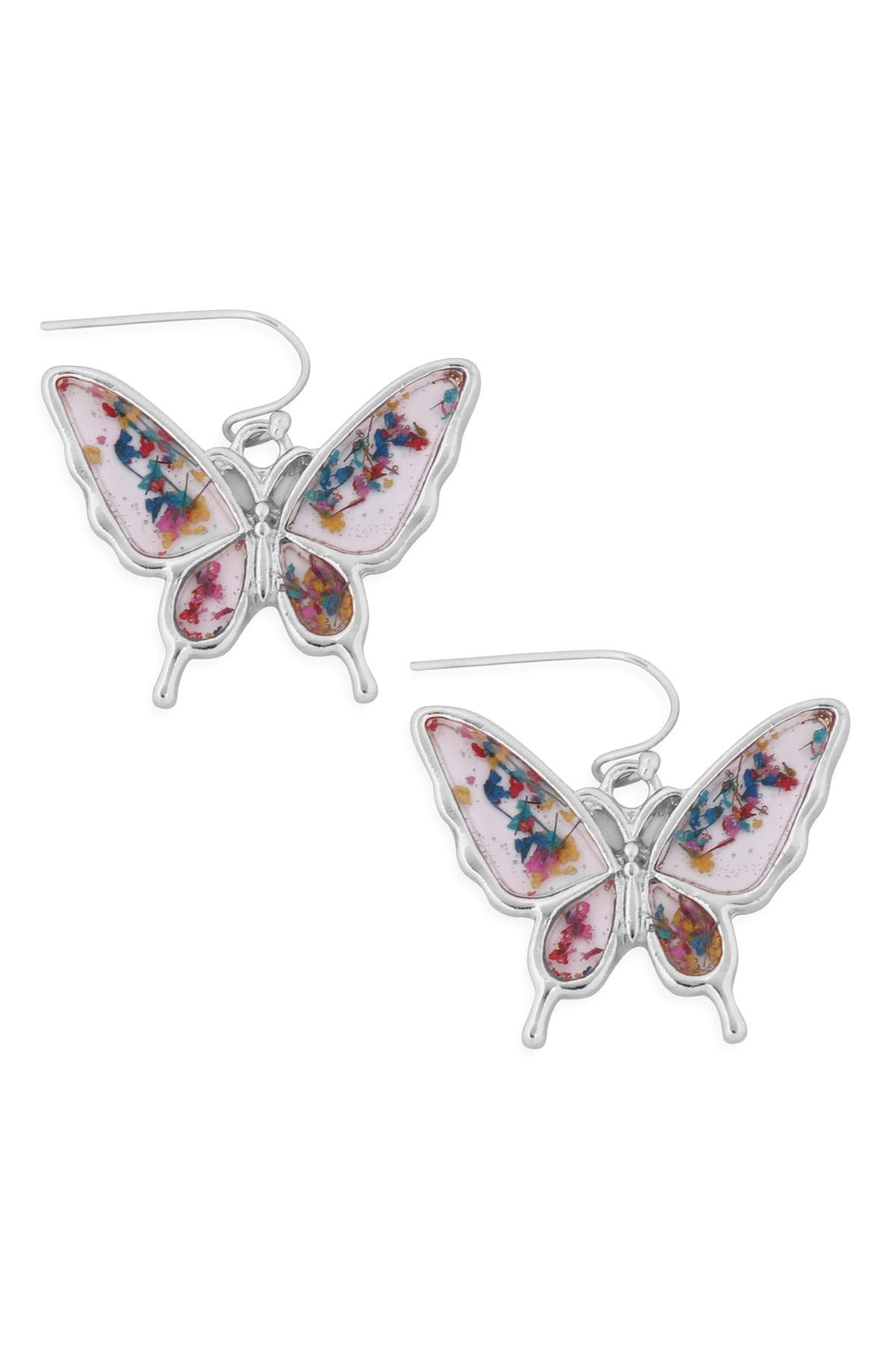Riah Fashion Butterfly-Resin-Drop-Hook-Earrings - Front Cropped Image