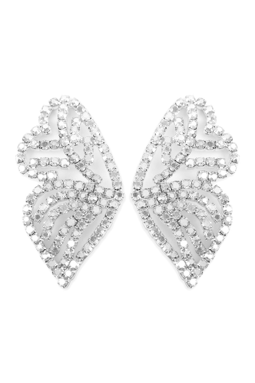 Riah Fashion Butterfly Rhinestone-Post-Earrings - Front Cropped Image