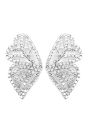 Riah Fashion Butterfly Rhinestone-Post-Earrings - Front cropped